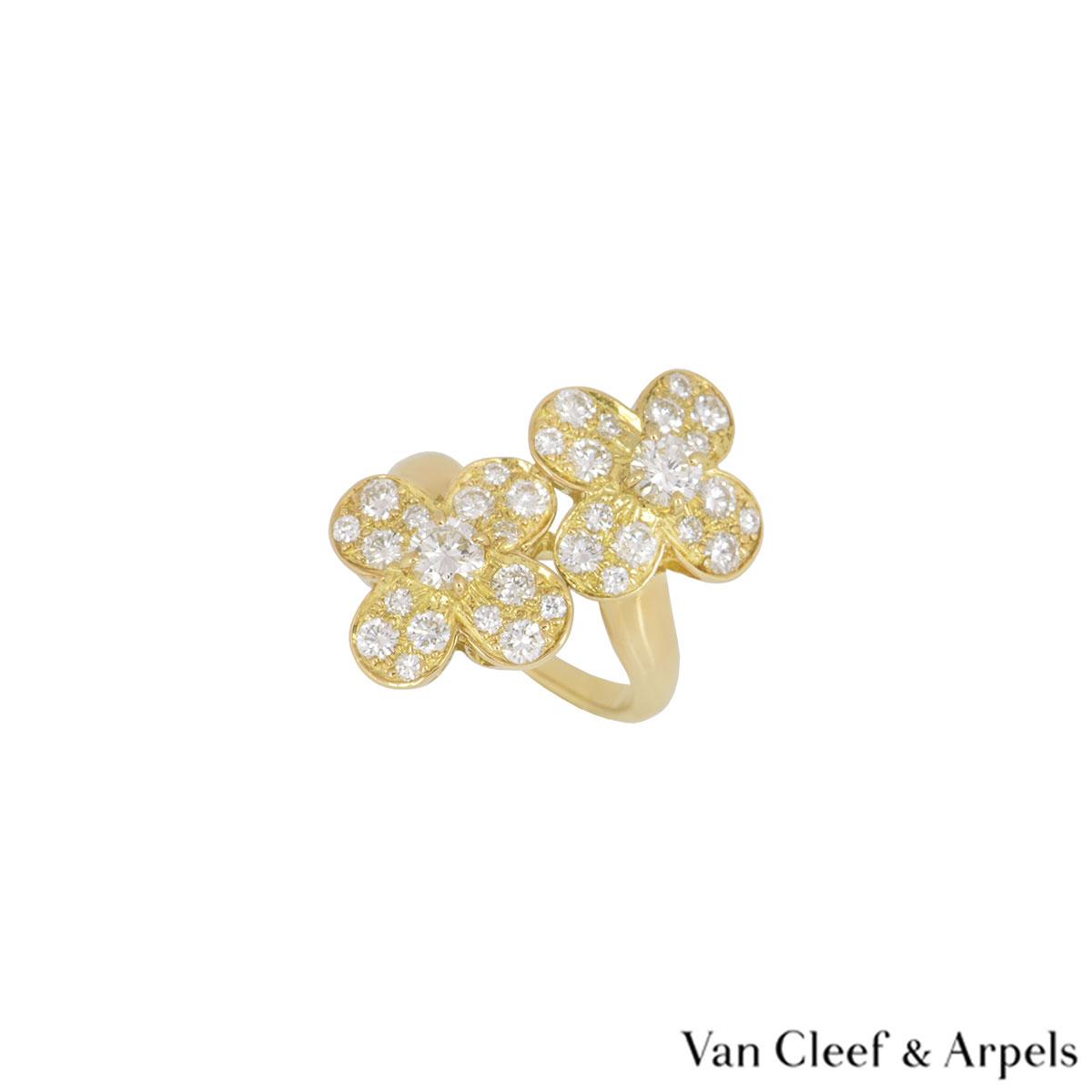 Van Cleef & Arpels Yellow Gold Diamond Trefle Ring